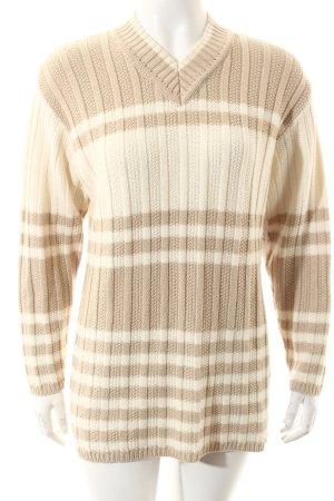 Monari Strickpullover creme-beige Streifenmuster Casual-Look