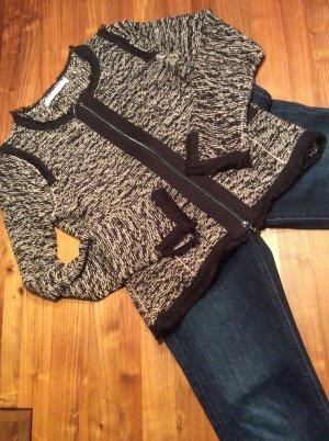 Monari Veste en tricot noir-gris clair