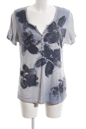 Monari T-Shirt hellgrau-schwarz Blumenmuster Casual-Look