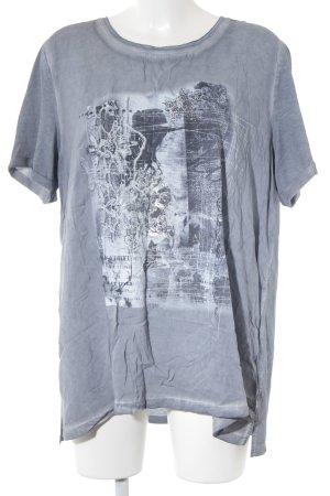 Monari T-Shirt graublau Batikmuster Casual-Look