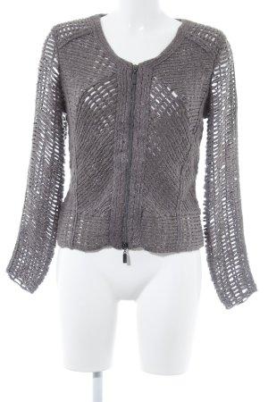 Monari Wollpullover grau-silberfarben Webmuster Biker-Look