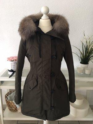 Moncler Manteau en duvet kaki-noir