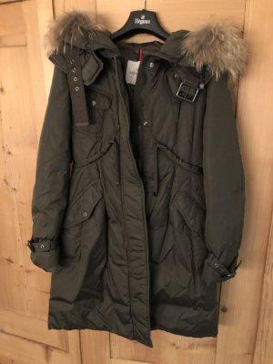Moncler Manteau en duvet gris vert polyamide