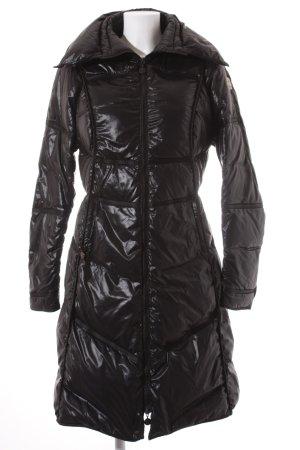 Moncler Manteau en duvet noir motif de courtepointe style mouillé
