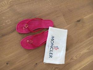 Moncler Flip-Flop Sandals pink-violet leather