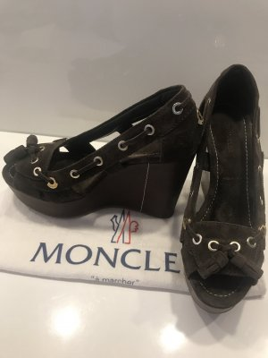 Moncler Wedge Pumps light brown-brown leather