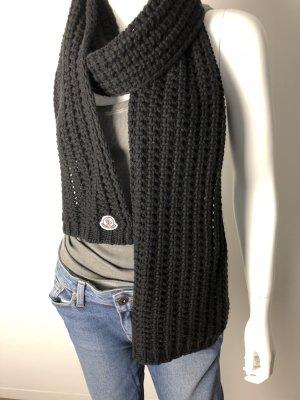 Moncler -klassischer Schal/Strickschal-Schurwolle-schwarz-neuw.-