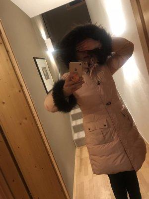 Moncler Mantel Rosa Fell Kragen und Ärmel