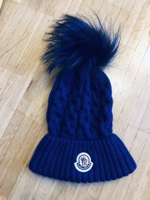 Moncler Mütze blau Fell Pelz cap