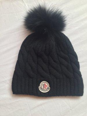 Moncler Mütze cap woll Pelz Fell schwarz