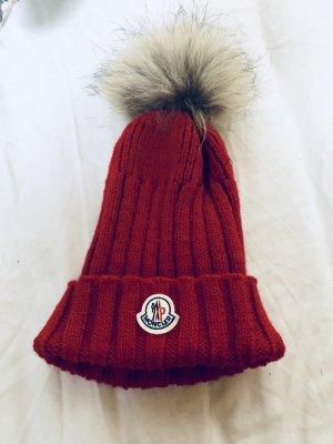 Moncler Mütze echtfell Pelz Bommel rot