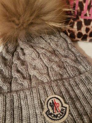 Moncler Muts beige-grijs Scheerwol