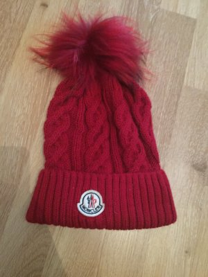 Moncler Mütze rot neu wolle Fell Pelz Bommel