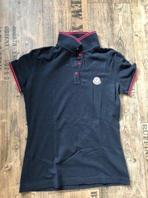 Moncler Camiseta tipo polo azul oscuro-rojo oscuro
