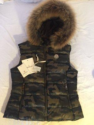 Moncler Weste Fell Camouflage schwarz grün khaki Jacke 36 38