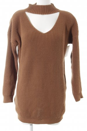 Mondi Oversized Sweater cognac-coloured loosely knitted pattern casual look