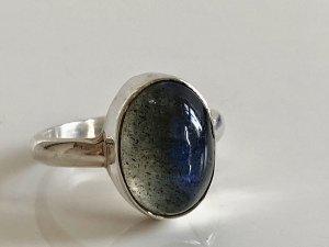 Mondstein Cabochon 925 Silber Ring Silberring Edelstein blau schimmernd Vintage