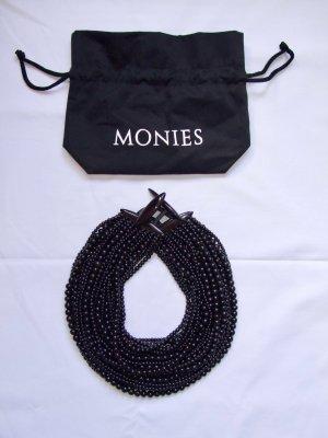 MONIES Dänemark Designer Kette Horn Perlen + Leder New