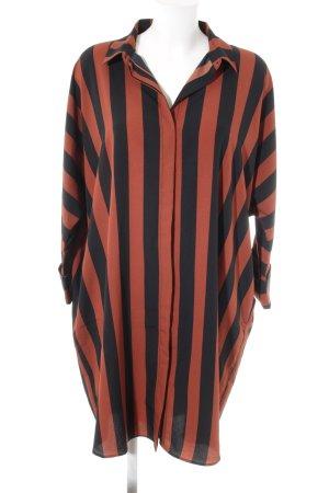 Monki Abito blusa nero-ruggine motivo a righe stile casual