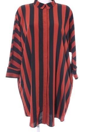 Monki Blusenkleid schwarz-rostrot Streifenmuster extravaganter Stil