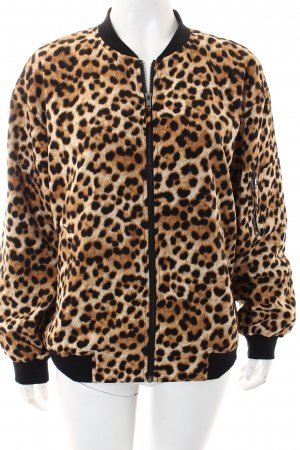 Monki Bomber Jacket black-beige leopard pattern street-fashion look