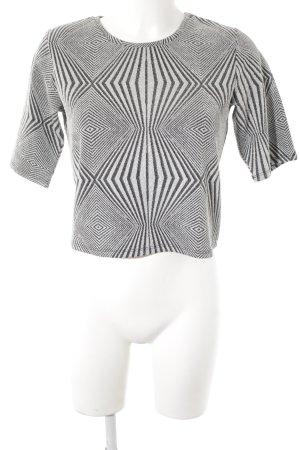 Monki Camicia cropped nero-argento motivo grafico stile festa