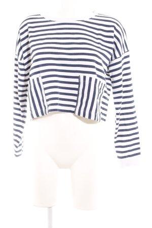 Monki T-shirt court blanc-bleu foncé motif rayé style mode des rues