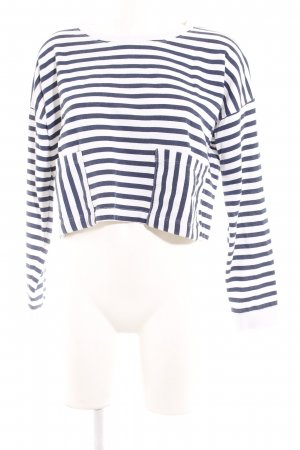 Monki Cropped Shirt weiß-dunkelblau Streifenmuster Street-Fashion-Look