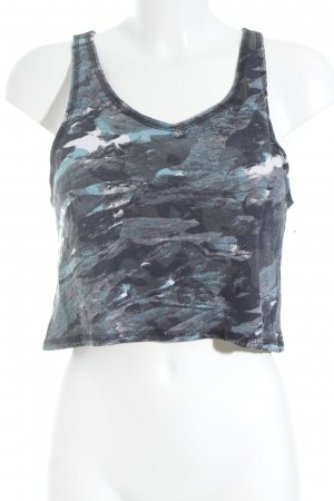Monki Cropped Top anthrazit-türkis abstraktes Muster Street-Fashion-Look