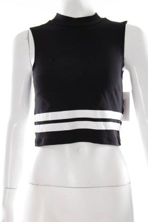 Monki Cropped Top schwarz-weiß Streifenmuster