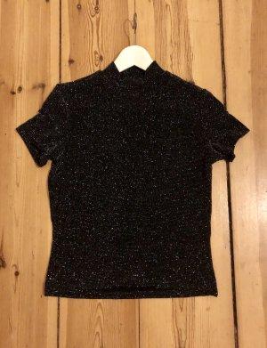 Monki Camisa de cuello de tortuga negro-color plata poliamida