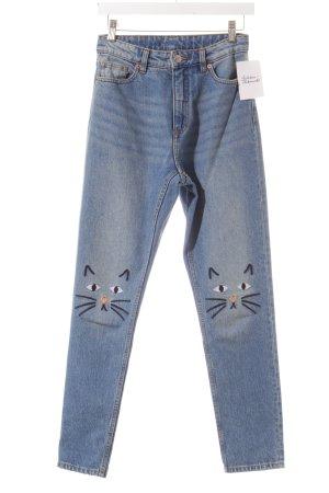Monki High Waist Jeans blau Comic-Look
