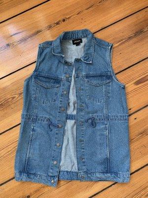 Monki Denim Vest steel blue cotton