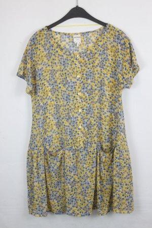 Monki Kleid Gr. S gelb, blau, weiß mit Blumen Print, transparent (18/4/118)