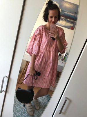 Monki Kleid Streifen Schleifen Oversize S Cututs Blusenkleid