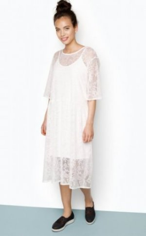 MONKI Kleid - Terry Lace Dress weiß loose fit Spitze Midi