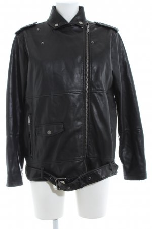 Monki Faux Leather Jacket black business style