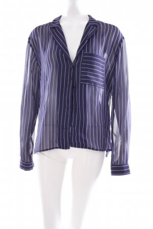 Monki Langarm-Bluse dunkelblau-weiß Streifenmuster Transparenz-Optik
