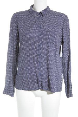 Monki Langarm-Bluse weiß-dunkelblau Punktemuster Casual-Look