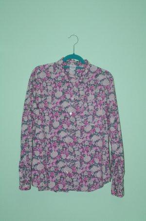 MONKI leichte Sommer Bluse Oberteil Rosa Magenta Blume Rosen