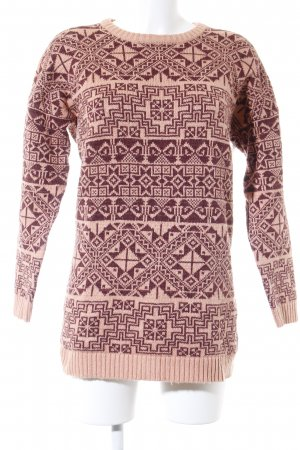 Monki Lange jumper abrikoos-paars abstract patroon casual uitstraling
