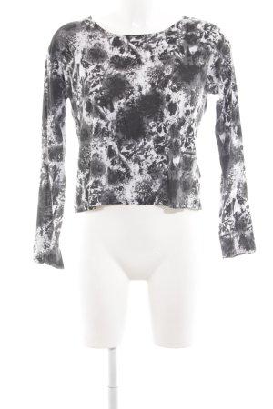 Monki Longsleeve hellgrau-weiß Mustermix schlichter Stil