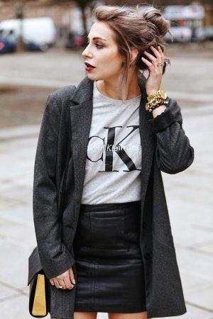 Monki Mantel schwarz-weiß Fischgrätmuster Boyfriend-Look