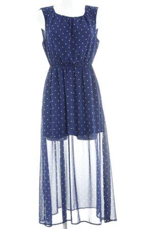 Monki Maxikleid dunkelblau-weiß Punktemuster Paris-Look
