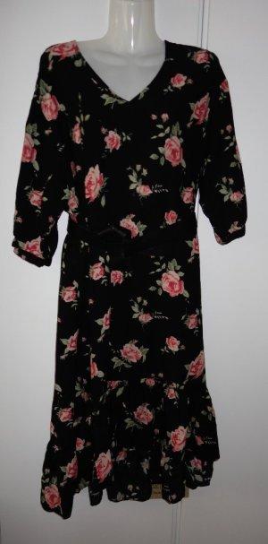MONKI Midi Kleid Volants Blumenprint Gr. S/M Vintage Shabby Chic Mori Kei