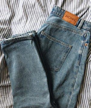 Monki Jeans carotte bleu azur-bleu