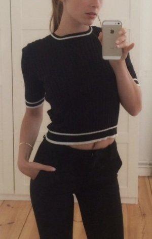 Monki Oberteil Baumwolle schwarz weiß crop top Shirt XS 34