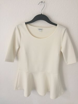 Monki Peplum Shirt Creme