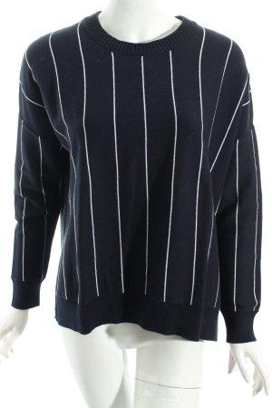 Monki Rundhalspullover dunkelblau-weiß Streifenmuster klassischer Stil