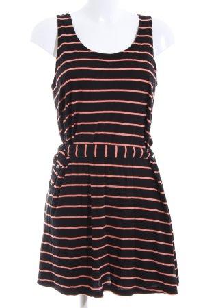 Monki Shirtkleid schwarz-pink Streifenmuster Casual-Look